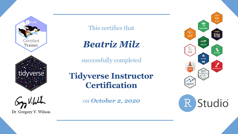 Certificado recebido após completar o 'Tidyverse Instructor Certification'.